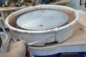 Big rubber band keeps splash pan together