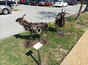 Mechanical parts sculpted to make a couple goats! These were life-size and amazing to see. On the walk to the Farmers Market